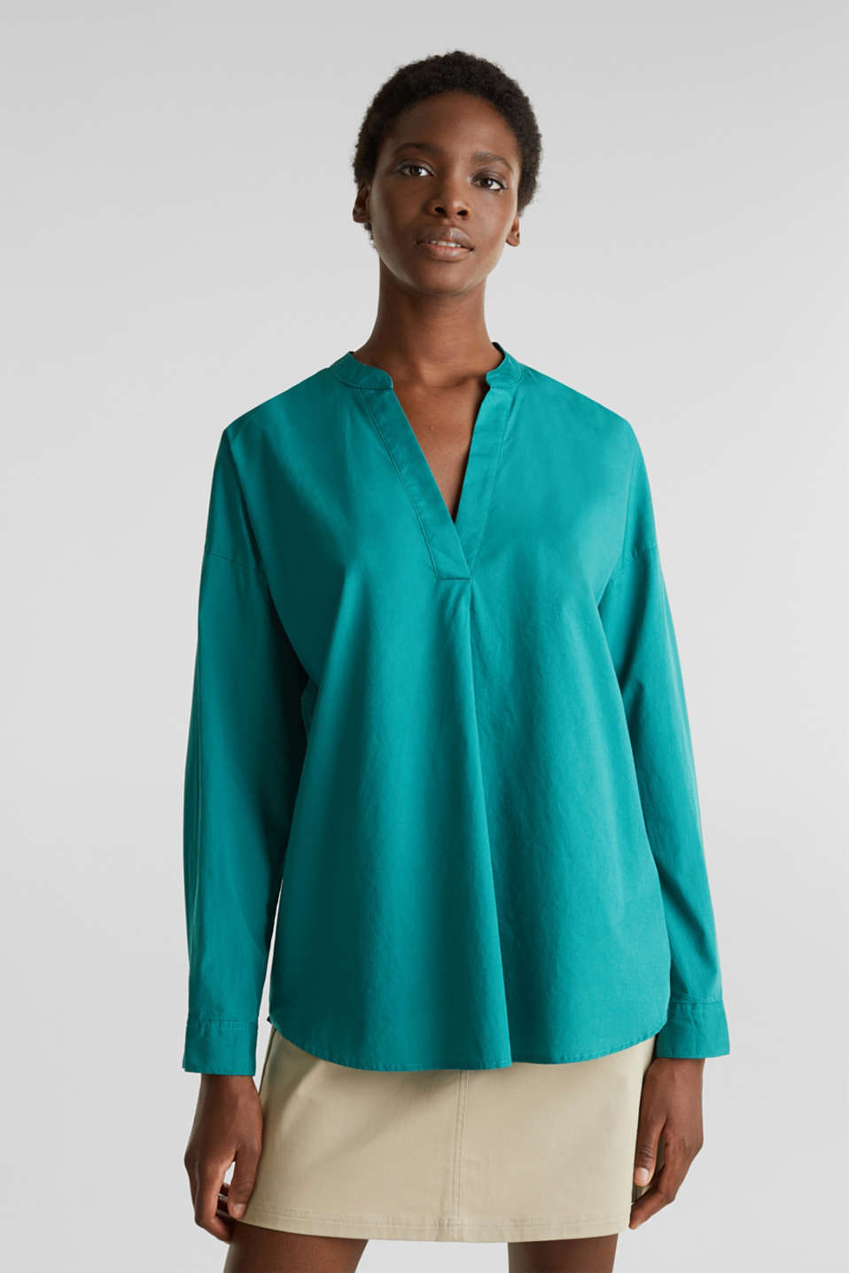 Henley tunic in 100% organic cotton, TEAL GREEN, detail image number 0