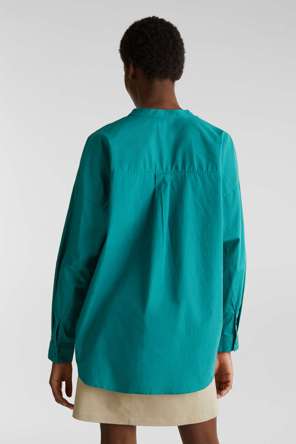 Henley tunic in 100% organic cotton, TEAL GREEN, detail image number 2