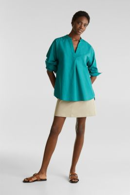 Henley tunic in 100% organic cotton, TEAL GREEN, detail