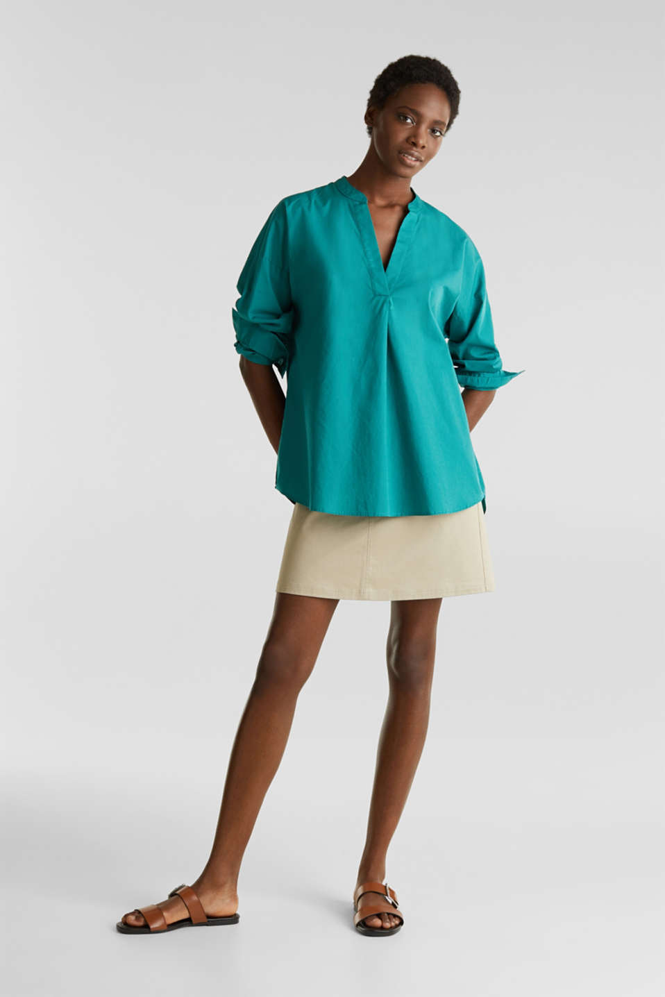 Henley tunic in 100% organic cotton, TEAL GREEN, detail image number 1