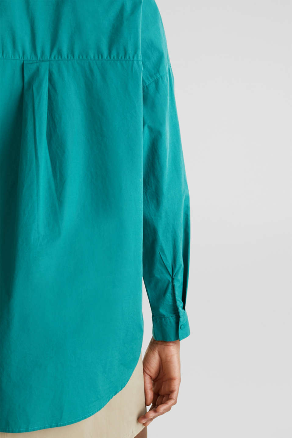 Henley tunic in 100% organic cotton, TEAL GREEN, detail image number 4