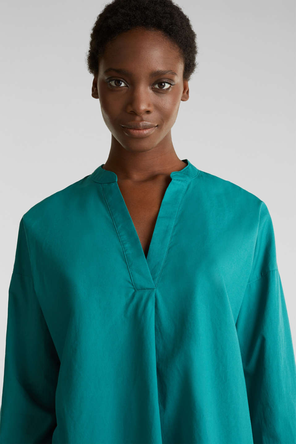 Henley tunic in 100% organic cotton, TEAL GREEN, detail image number 5