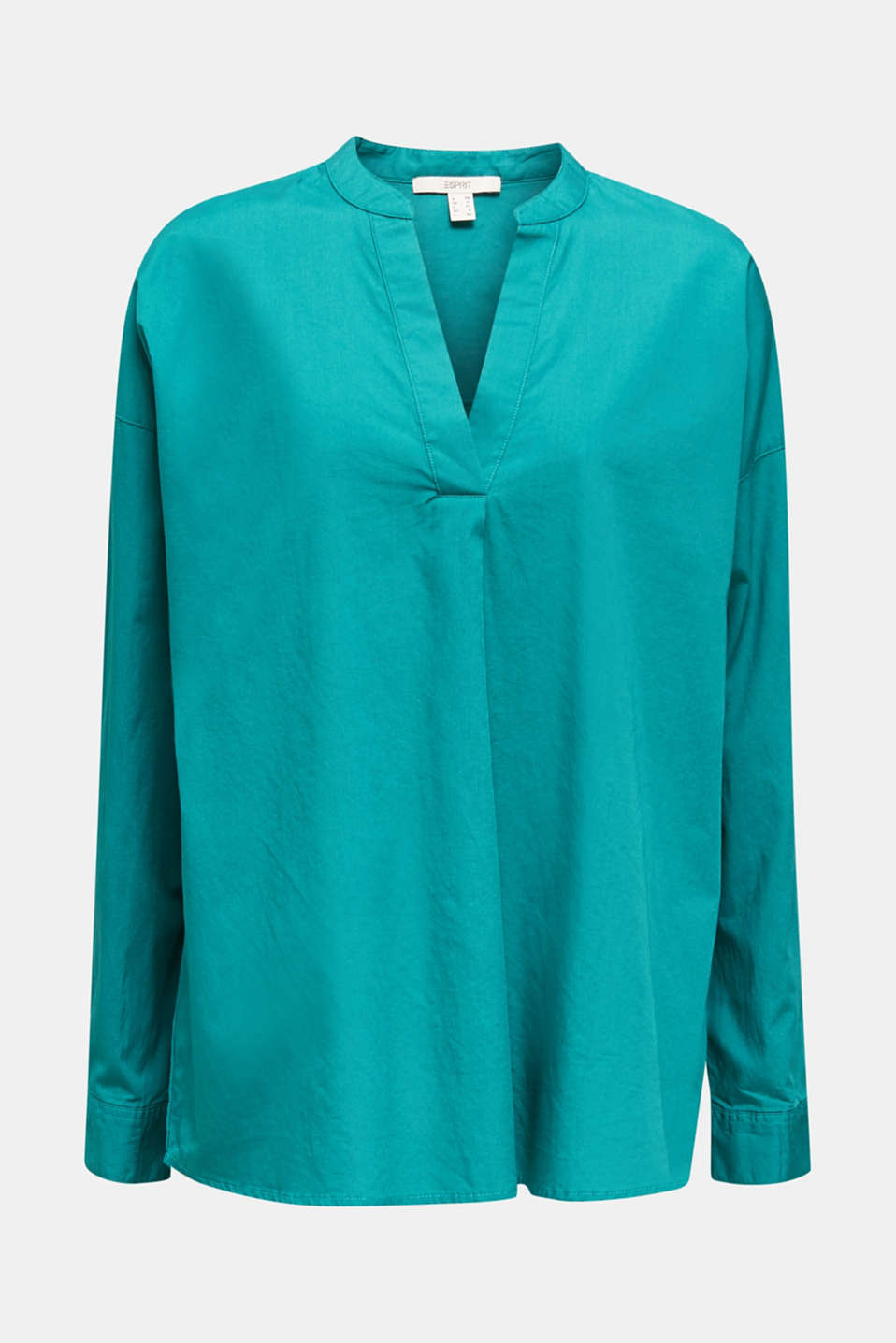 Henley tunic in 100% organic cotton, TEAL GREEN, detail image number 6