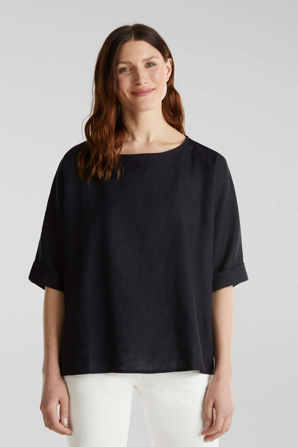 Blended linen blouse with a button placket, BLACK, detail image number 0