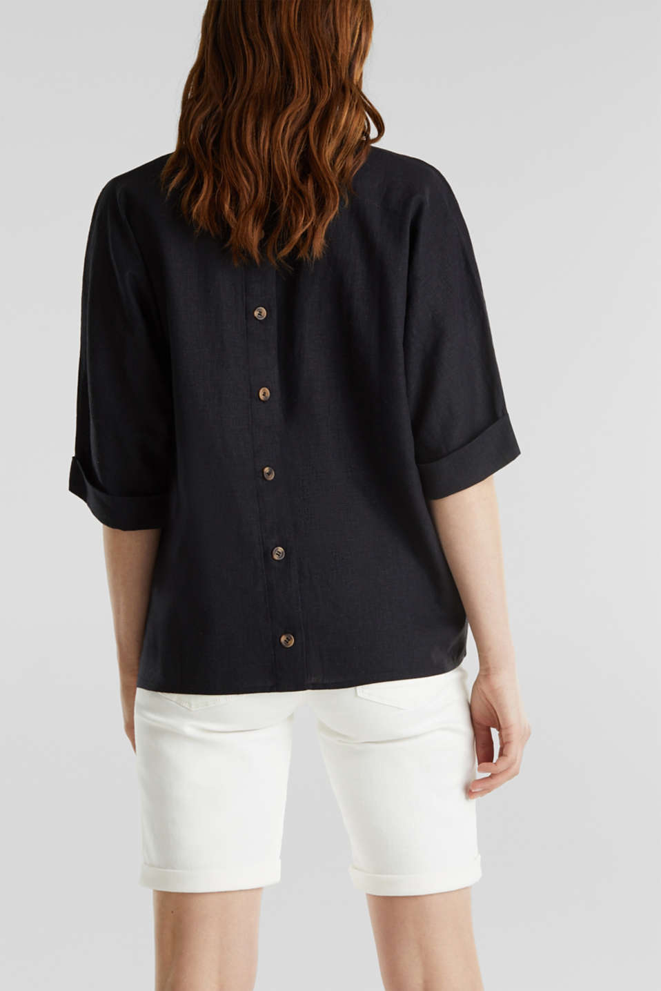 Blended linen blouse with a button placket, BLACK, detail image number 3