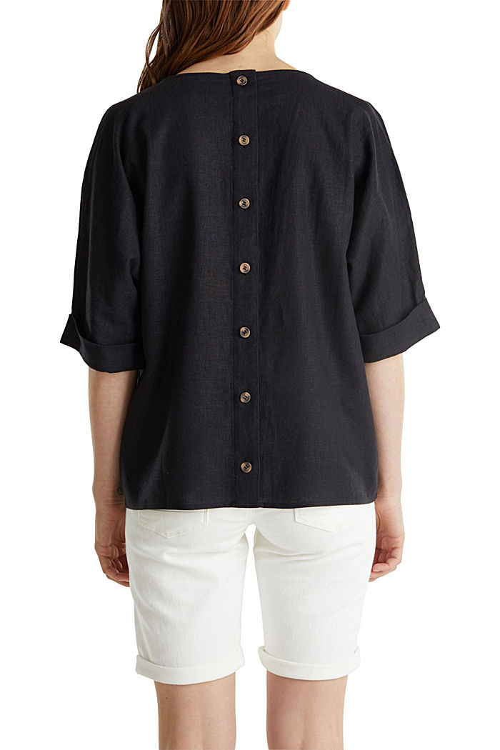 Blended linen blouse with a button placket, BLACK, detail image number 6