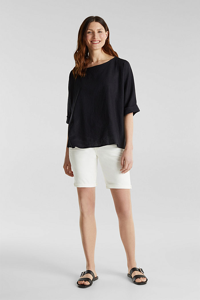 Blended linen blouse with a button placket, BLACK, detail image number 1