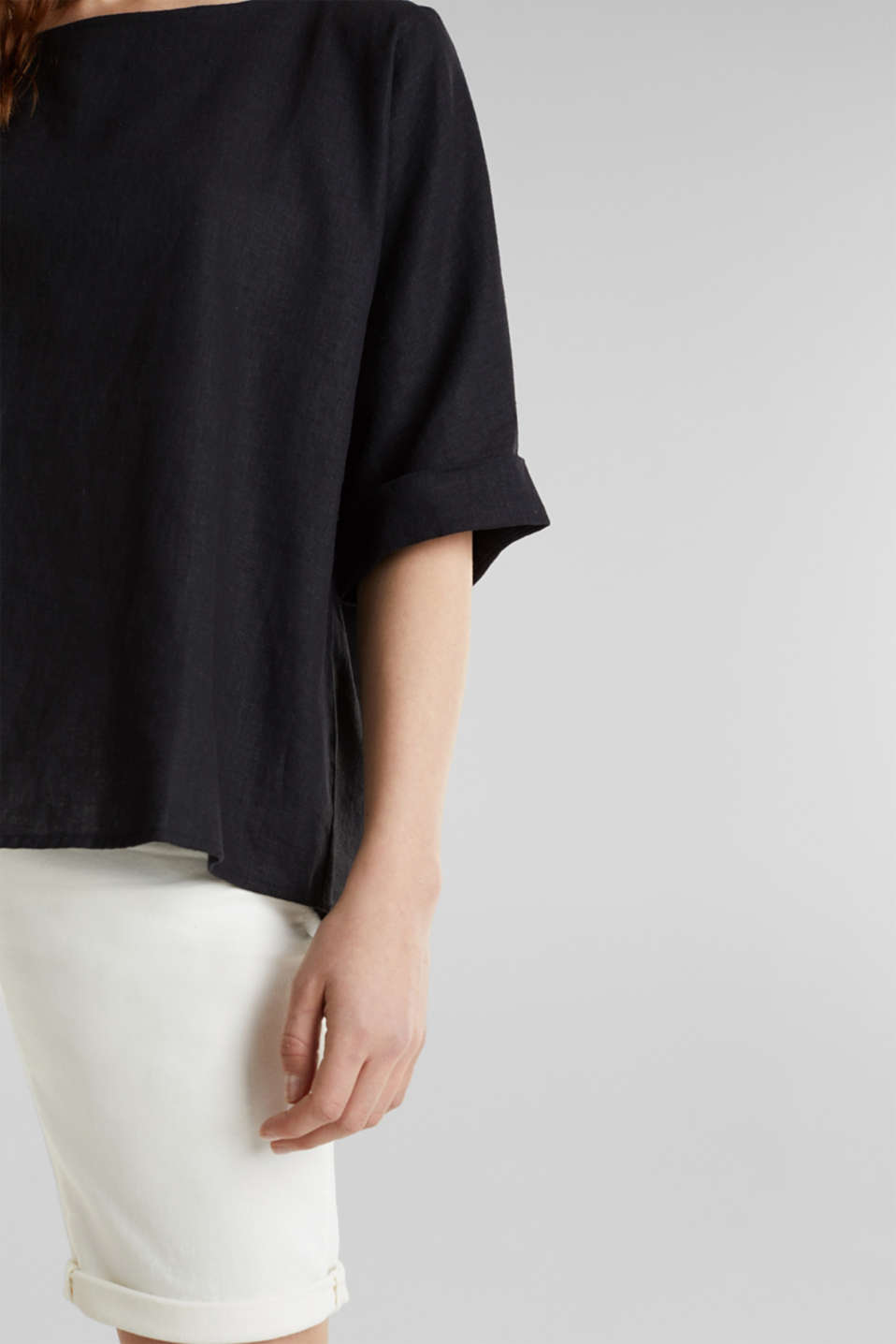 Blended linen blouse with a button placket, BLACK, detail image number 2
