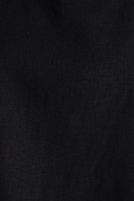 Blended linen blouse with a button placket, BLACK, detail