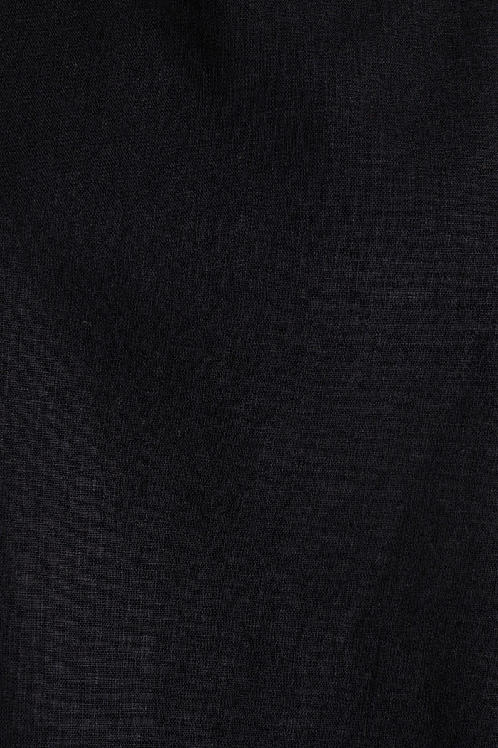 Blended linen blouse with a button placket, BLACK, detail image number 4