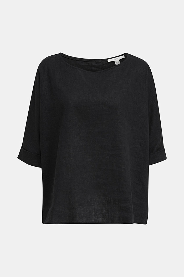 Blended linen blouse with a button placket, BLACK, detail image number 7