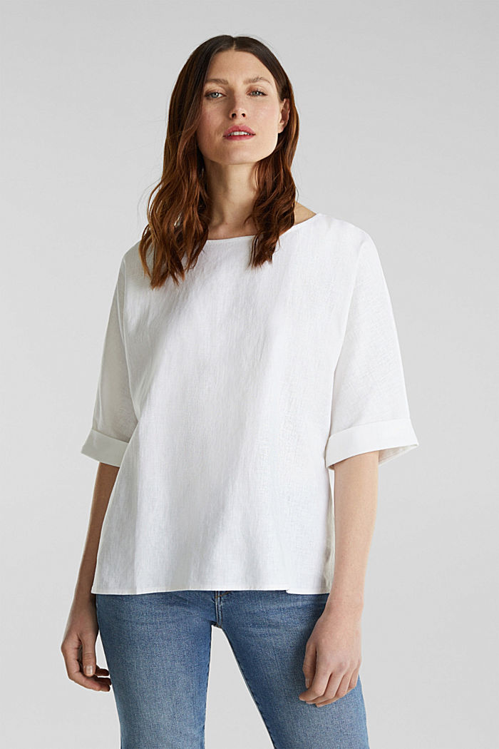 Blended linen blouse with a button placket, WHITE, detail image number 0