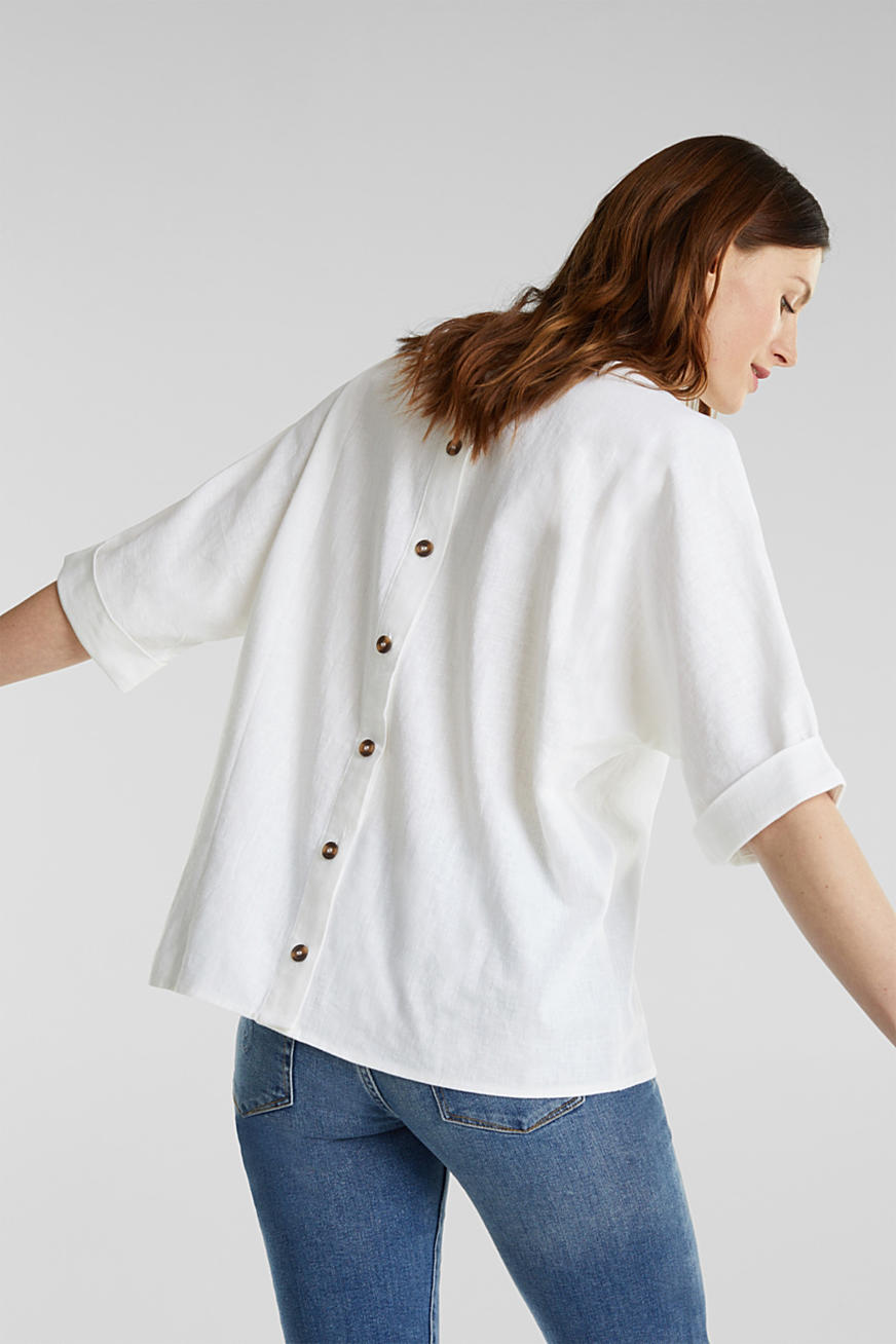 Blended linen blouse with a button placket