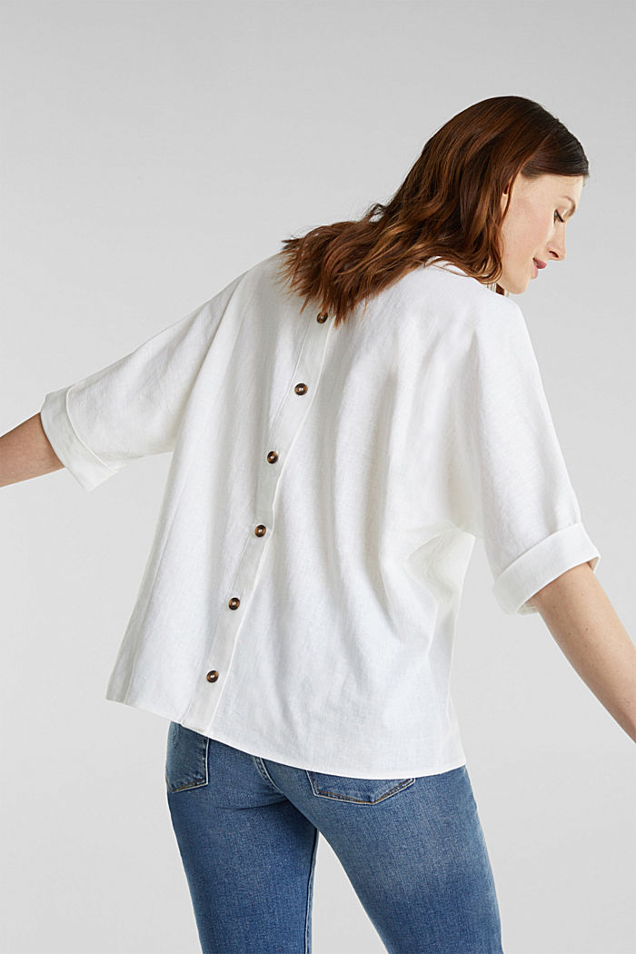 Blended linen blouse with a button placket, WHITE, detail image number 2
