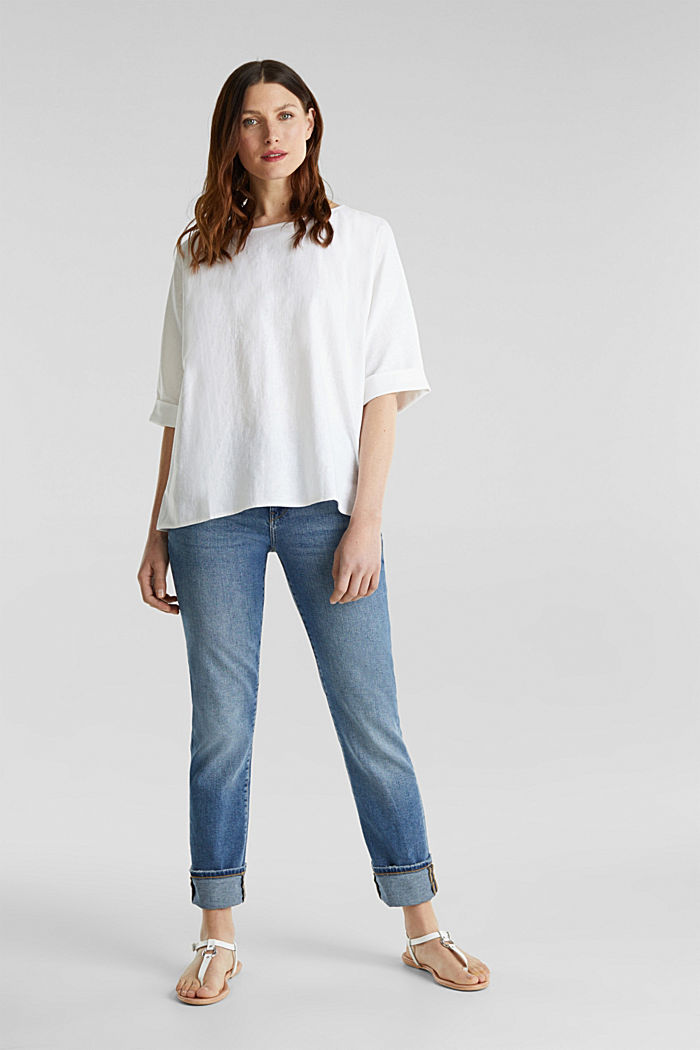 Blended linen blouse with a button placket, WHITE, detail image number 1