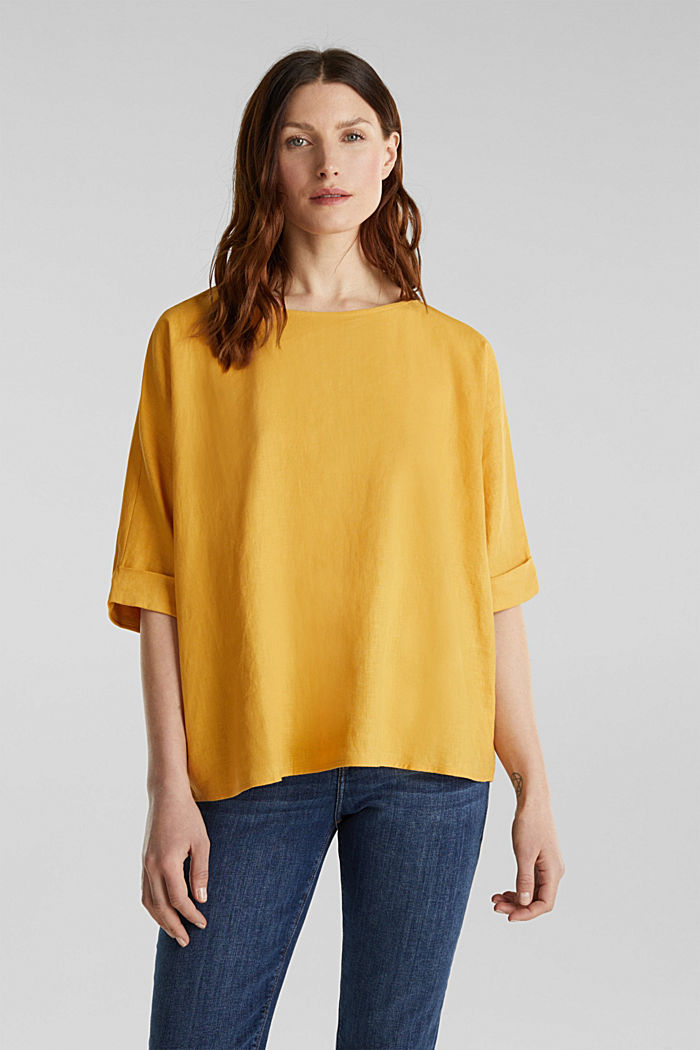 Blended linen blouse with a button placket, HONEY YELLOW, detail image number 0