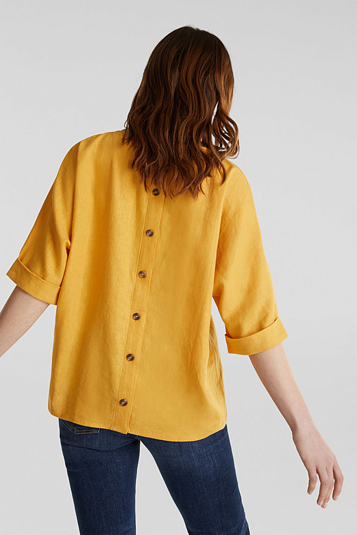 Blended linen blouse with a button placket, HONEY YELLOW, detail image number 3