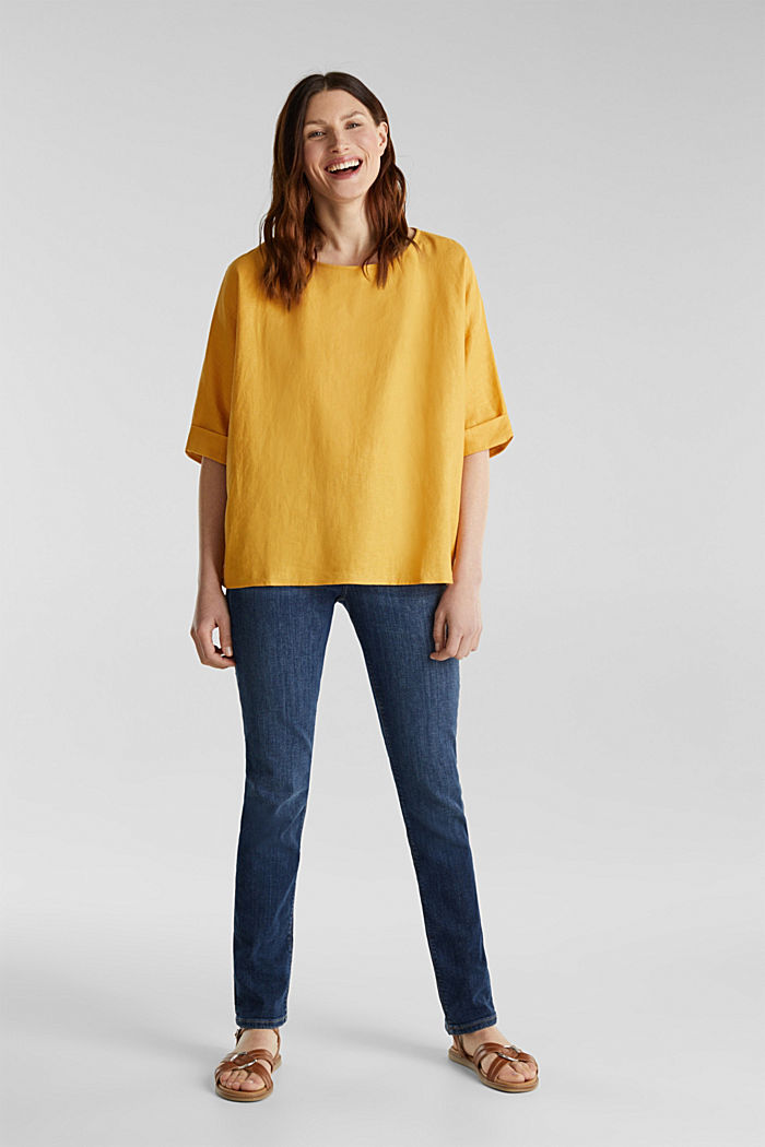 Blended linen blouse with a button placket, HONEY YELLOW, detail image number 1