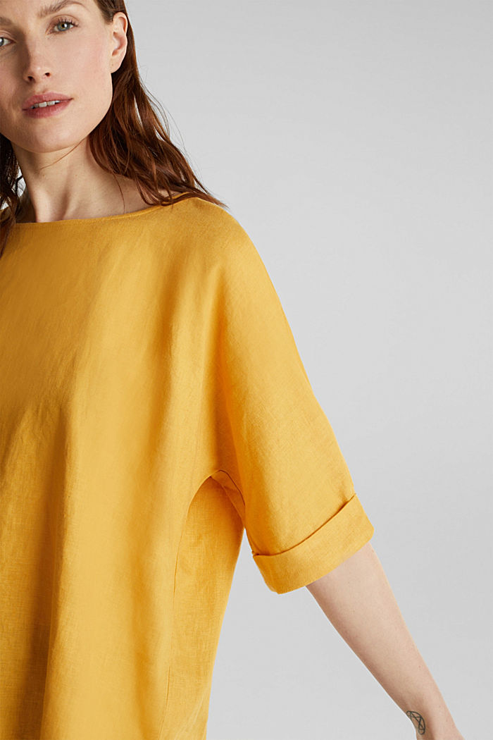 Blended linen blouse with a button placket, HONEY YELLOW, detail image number 2