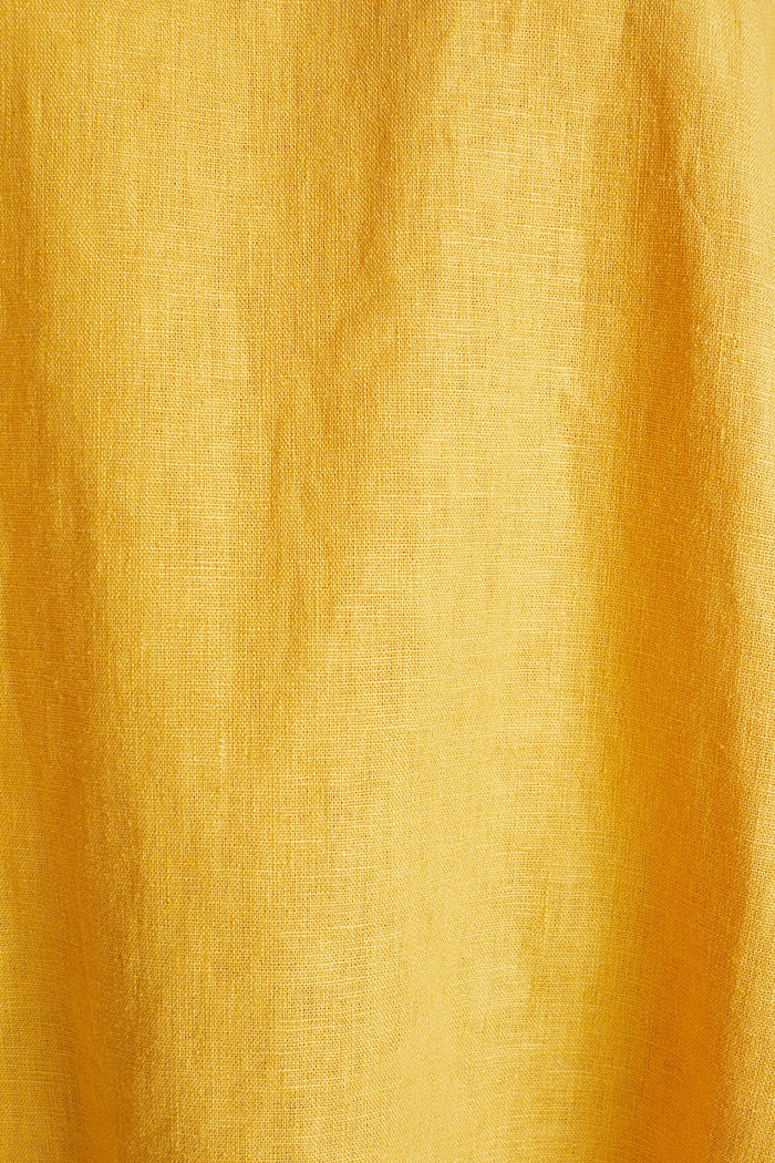 Blended linen blouse with a button placket, HONEY YELLOW, detail image number 4