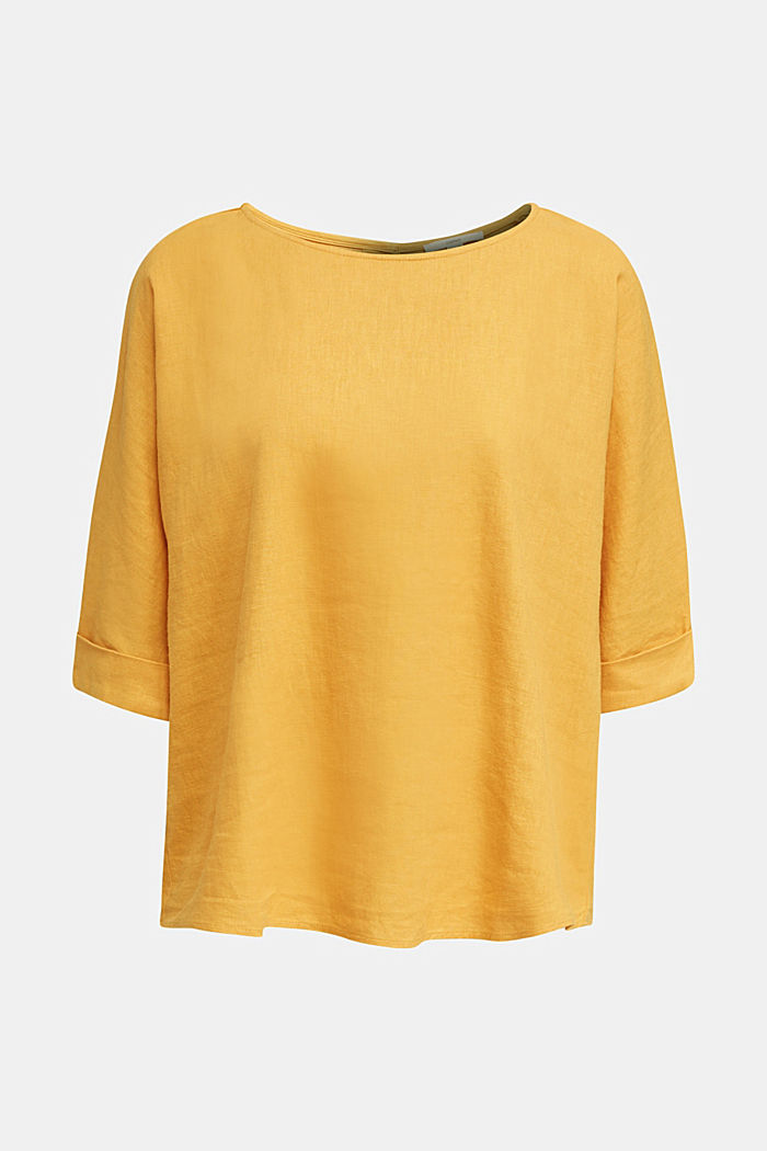 Blended linen blouse with a button placket, HONEY YELLOW, detail image number 5