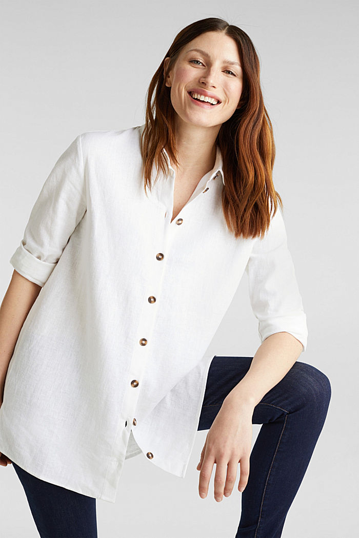 Linen blend: casual shirt blouse, WHITE, detail image number 0