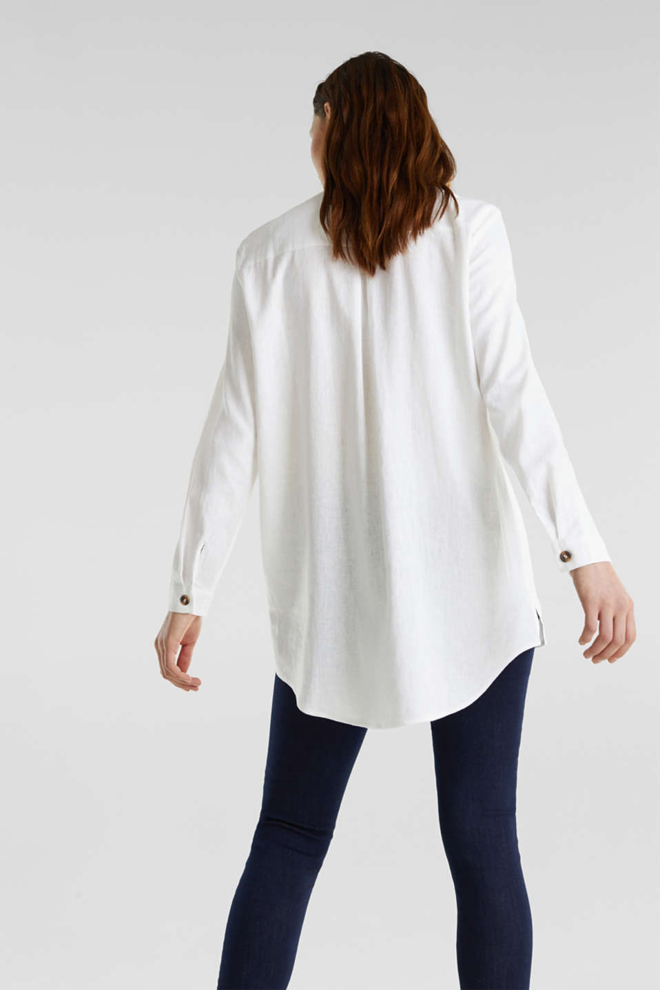 Linen blend: casual shirt blouse, WHITE, detail image number 3