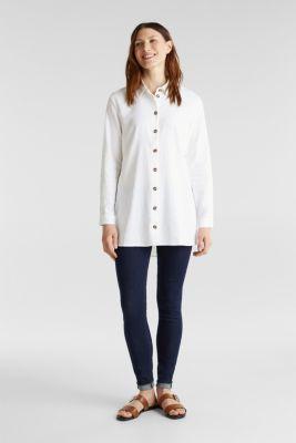 Linen blend: casual shirt blouse, WHITE, detail