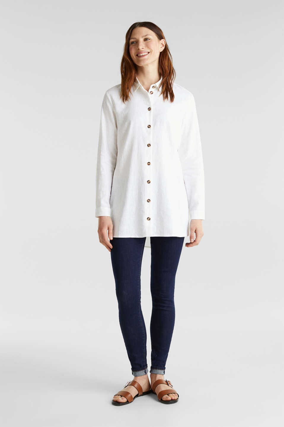 Linen blend: casual shirt blouse, WHITE, detail image number 1