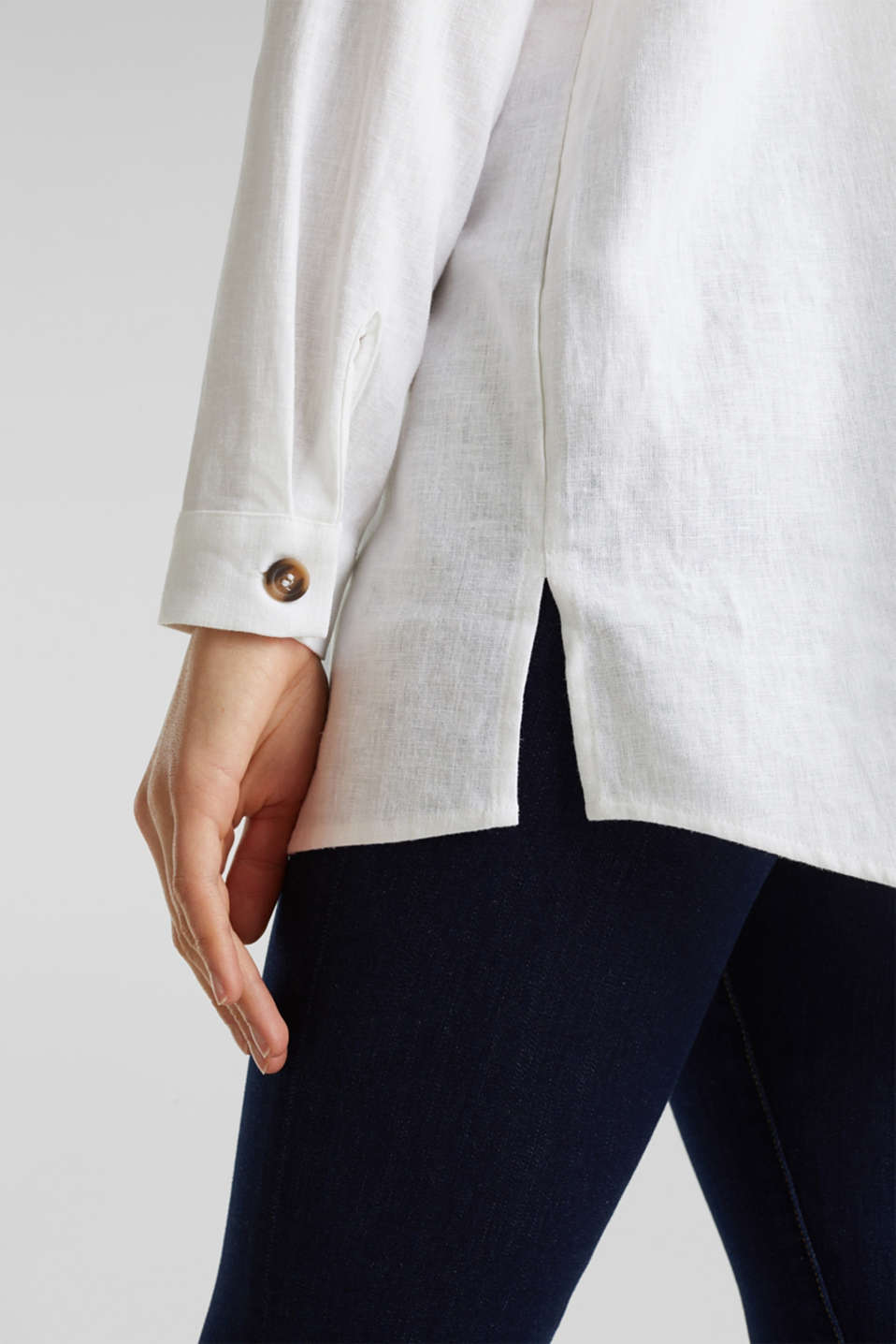 Linen blend: casual shirt blouse, WHITE, detail image number 2