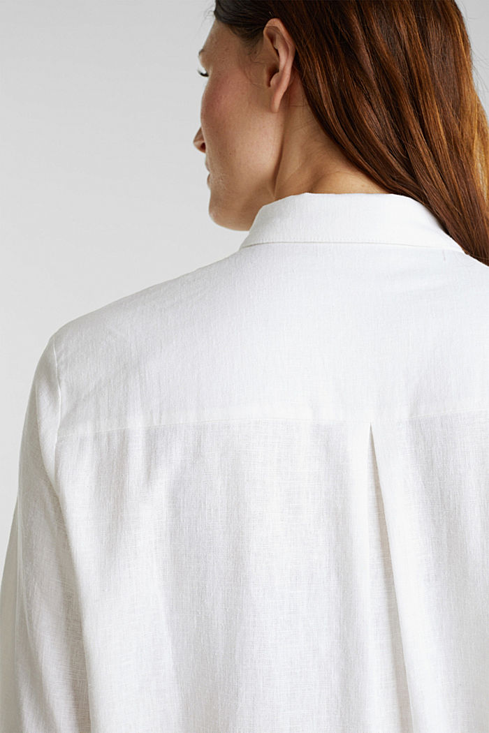Linen blend: casual shirt blouse, WHITE, detail image number 4