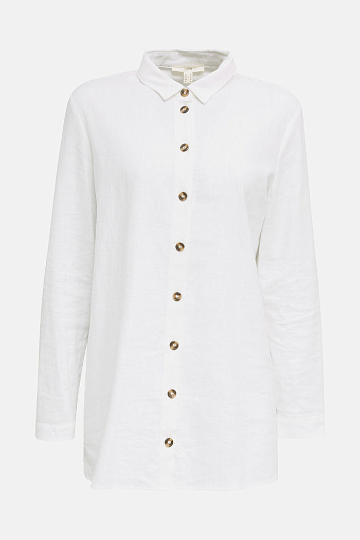 Linen blend: casual shirt blouse, WHITE, detail image number 5