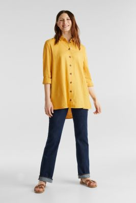 Linen blend: casual shirt blouse, HONEY YELLOW, detail
