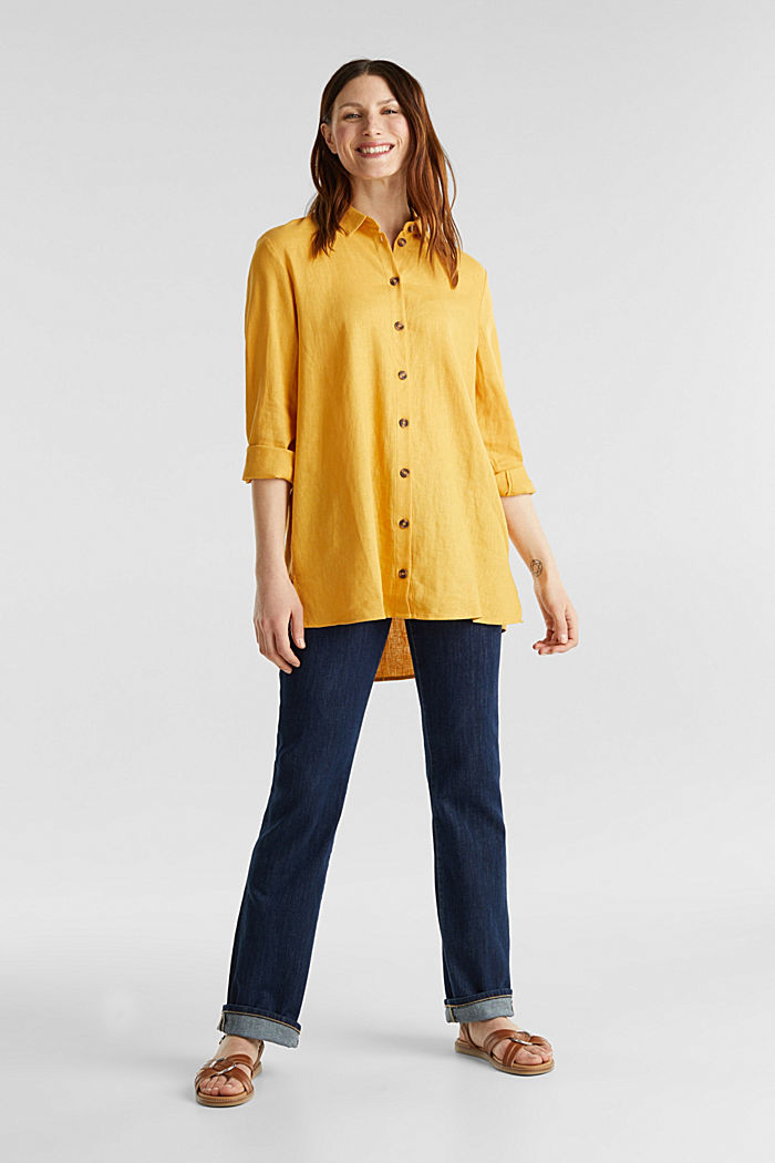 In misto lino: blusa casual, HONEY YELLOW, detail image number 0