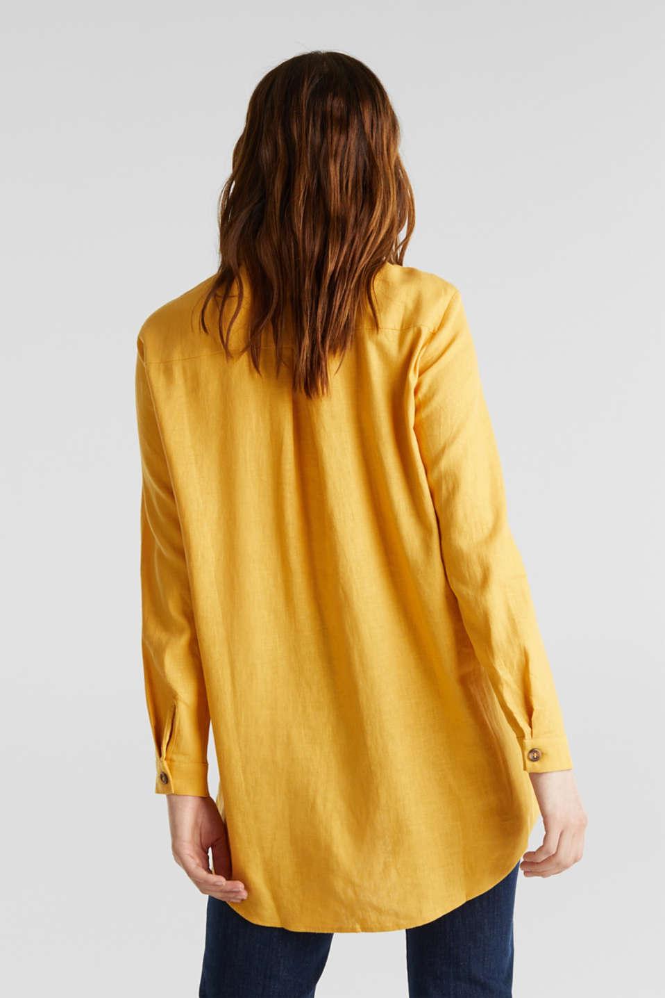 Linen blend: casual shirt blouse, HONEY YELLOW, detail image number 2