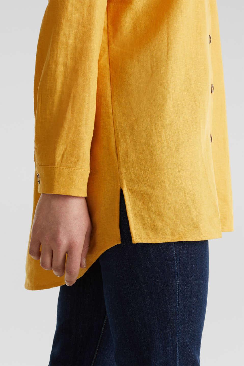 Linen blend: casual shirt blouse, HONEY YELLOW, detail image number 1