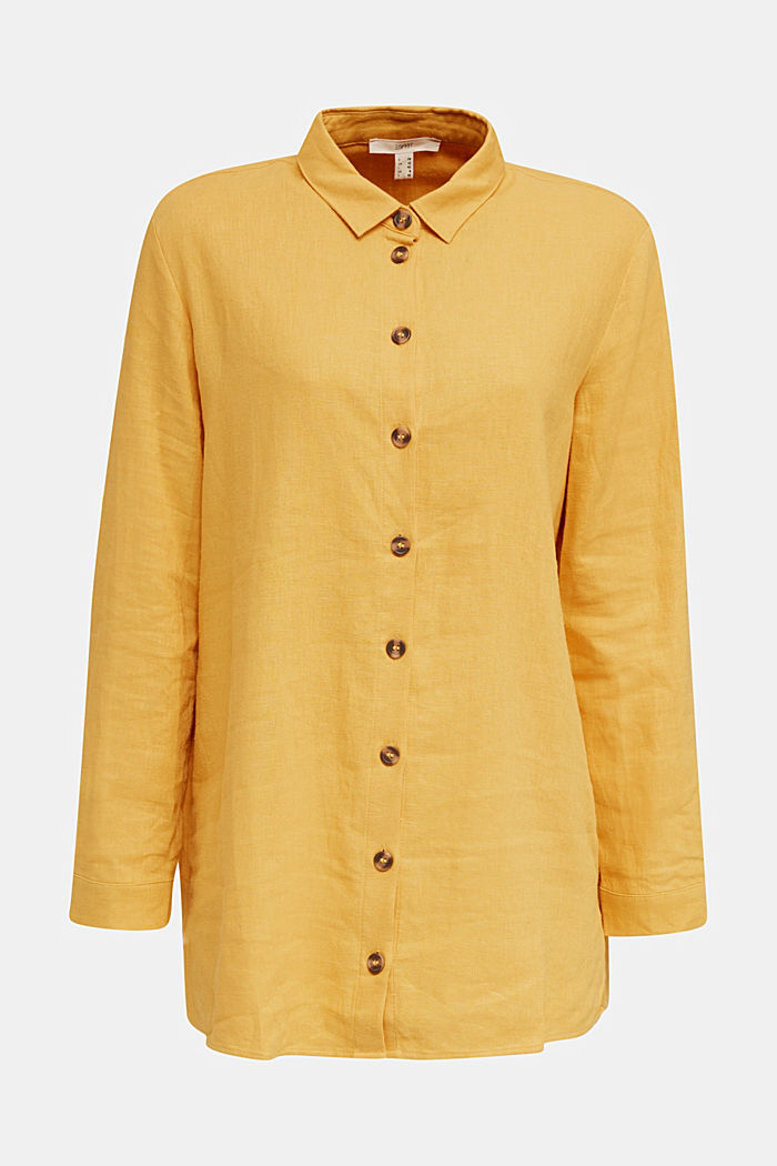 In misto lino: blusa casual, HONEY YELLOW, detail image number 4