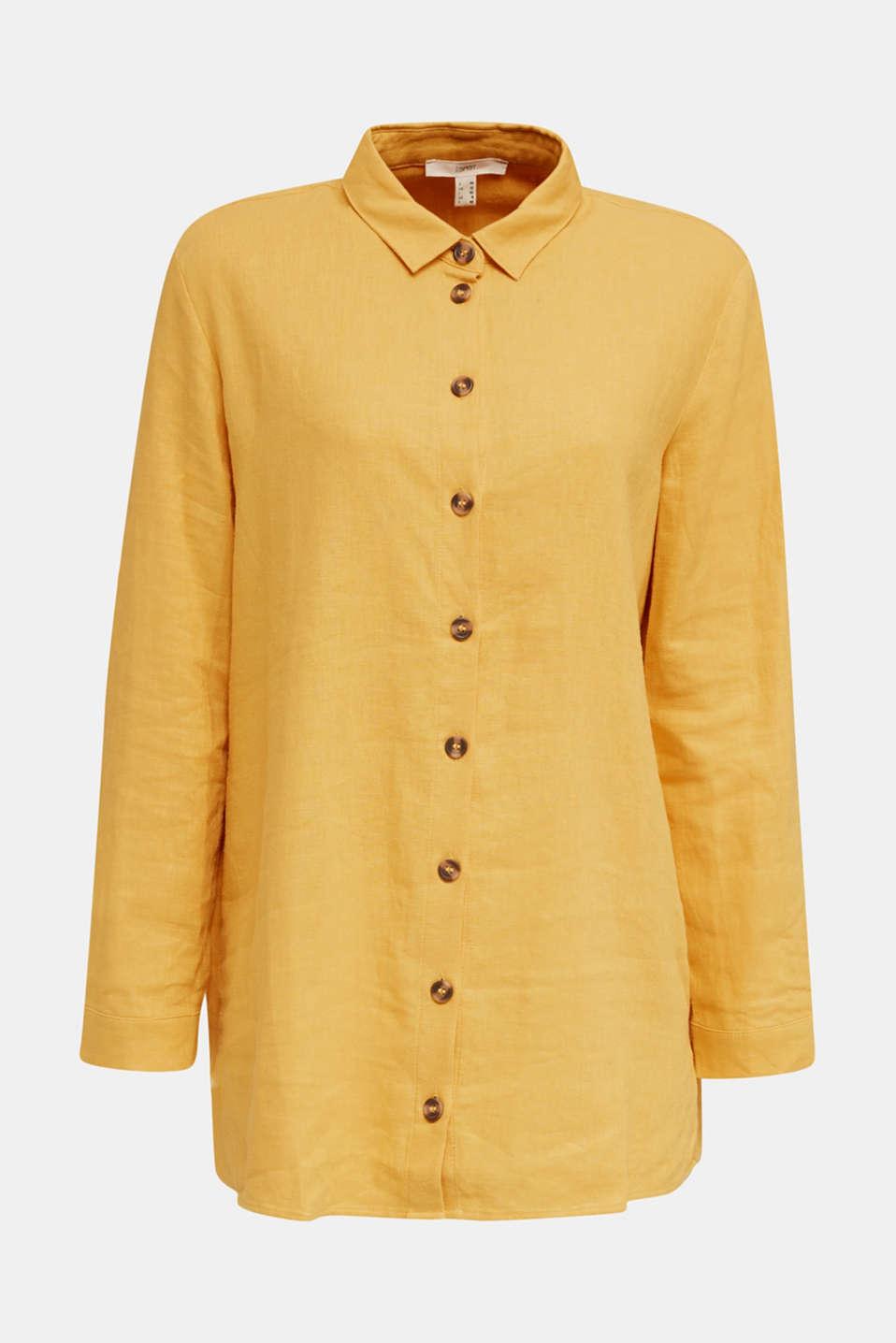 Linen blend: casual shirt blouse, HONEY YELLOW, detail image number 4
