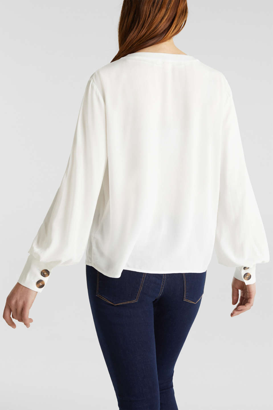 Crêpe blouse with balloon sleeves, OFF WHITE, detail image number 3