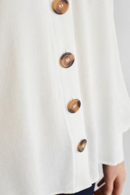 Crêpe blouse with balloon sleeves, OFF WHITE, detail