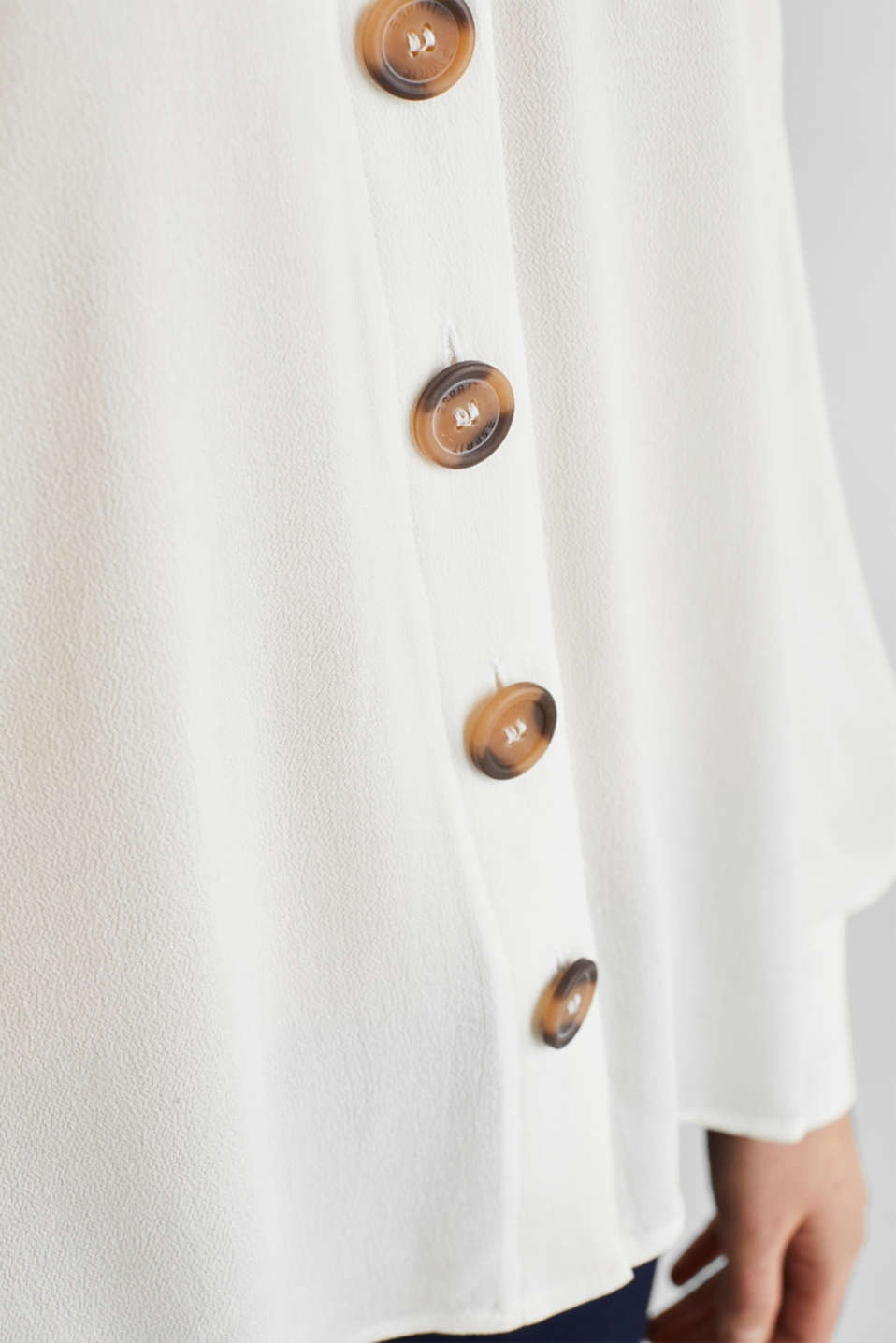 Crêpe blouse with balloon sleeves, OFF WHITE, detail image number 4