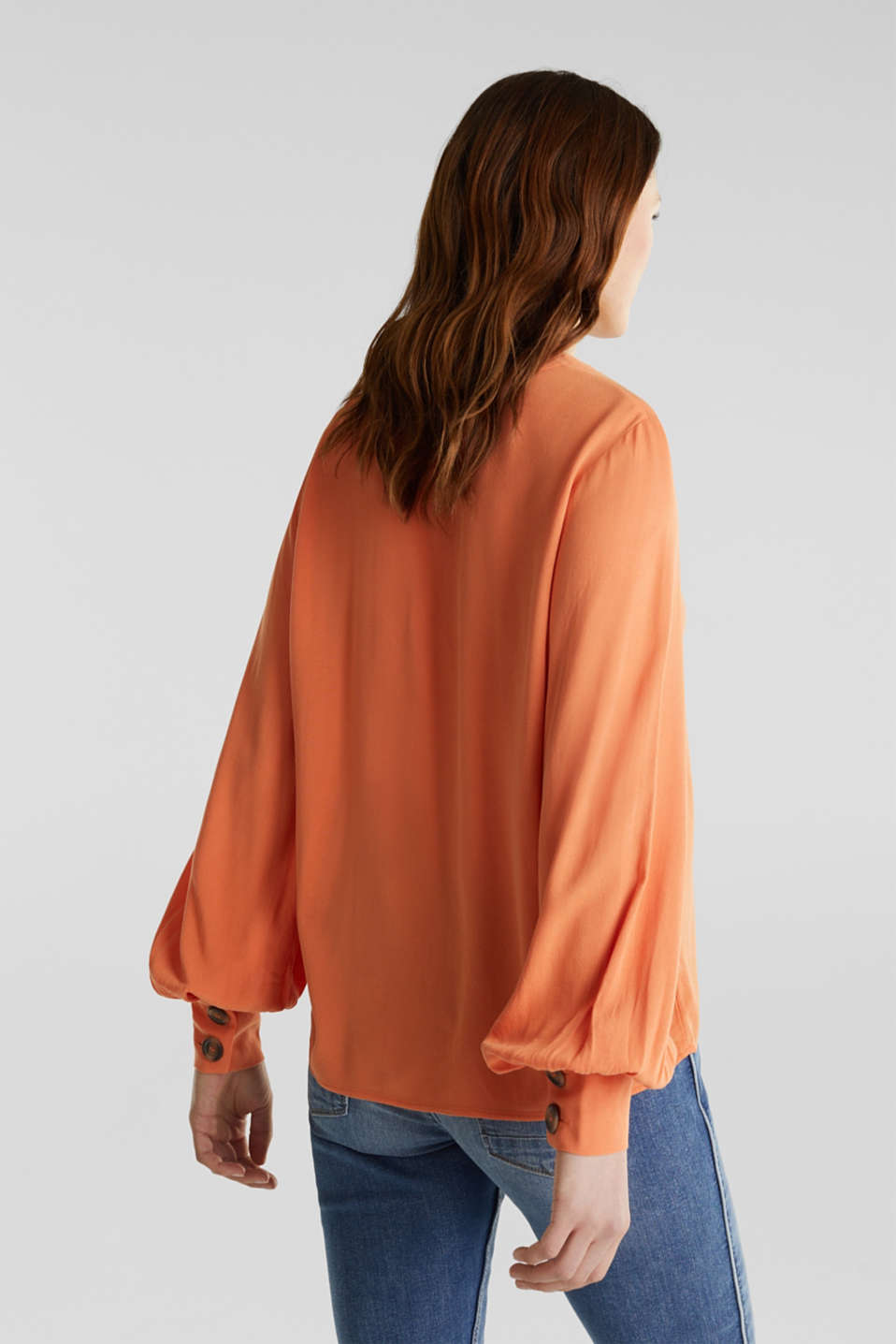 Crêpe blouse with balloon sleeves, RUST ORANGE, detail image number 3