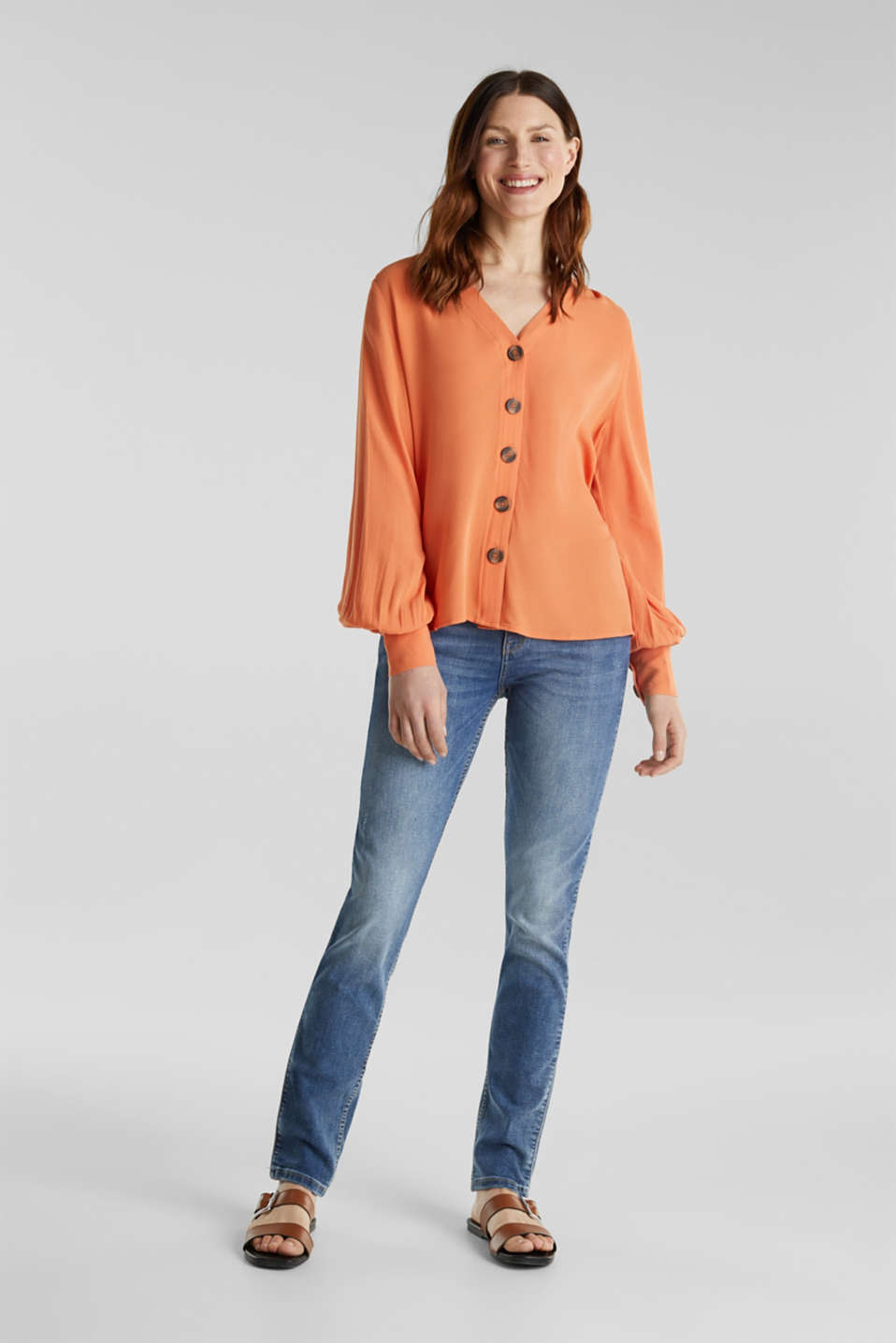 Crêpe blouse with balloon sleeves, RUST ORANGE, detail image number 1