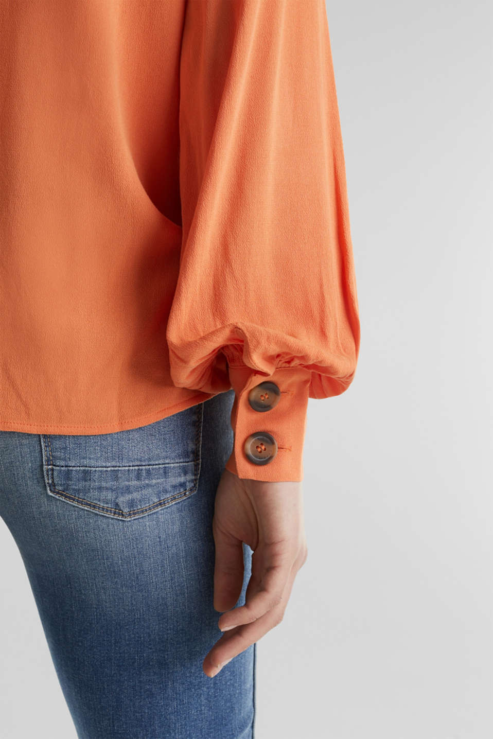 Crêpe blouse with balloon sleeves, RUST ORANGE, detail image number 2