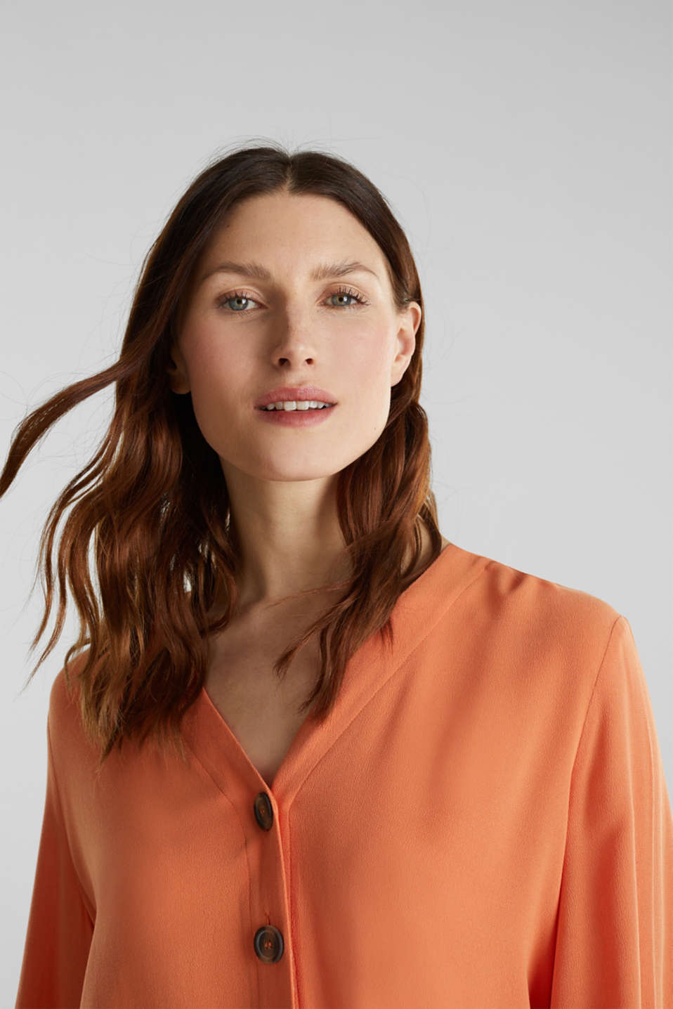 Crêpe blouse with balloon sleeves, RUST ORANGE, detail image number 5
