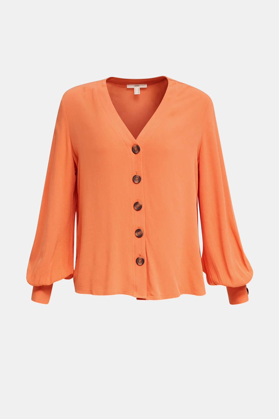 Crêpe blouse with balloon sleeves, RUST ORANGE, detail image number 6