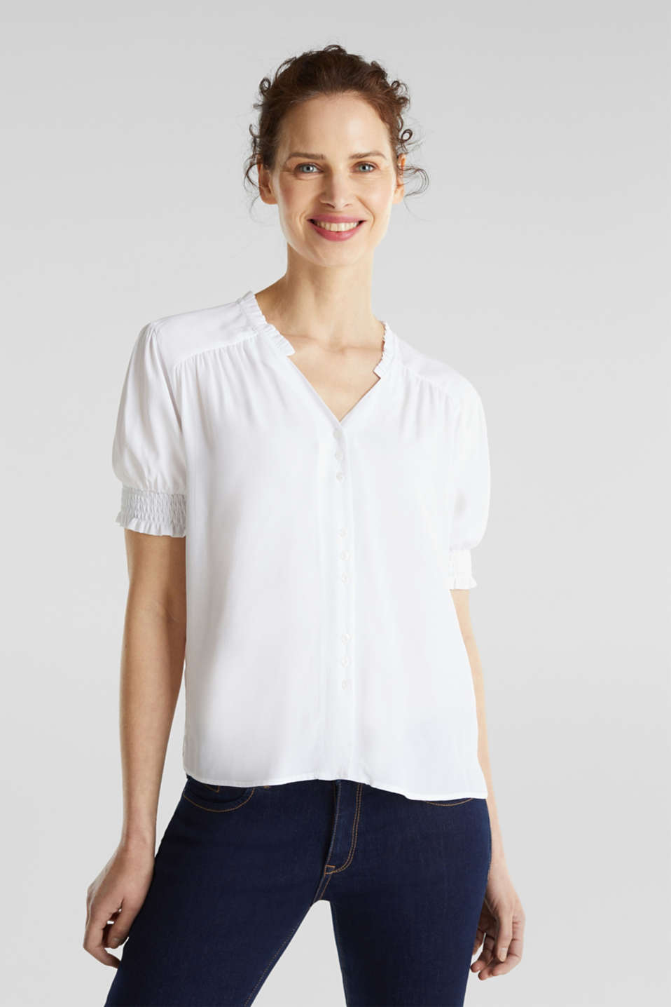 Blouse with frills and smocked details, WHITE, detail image number 0