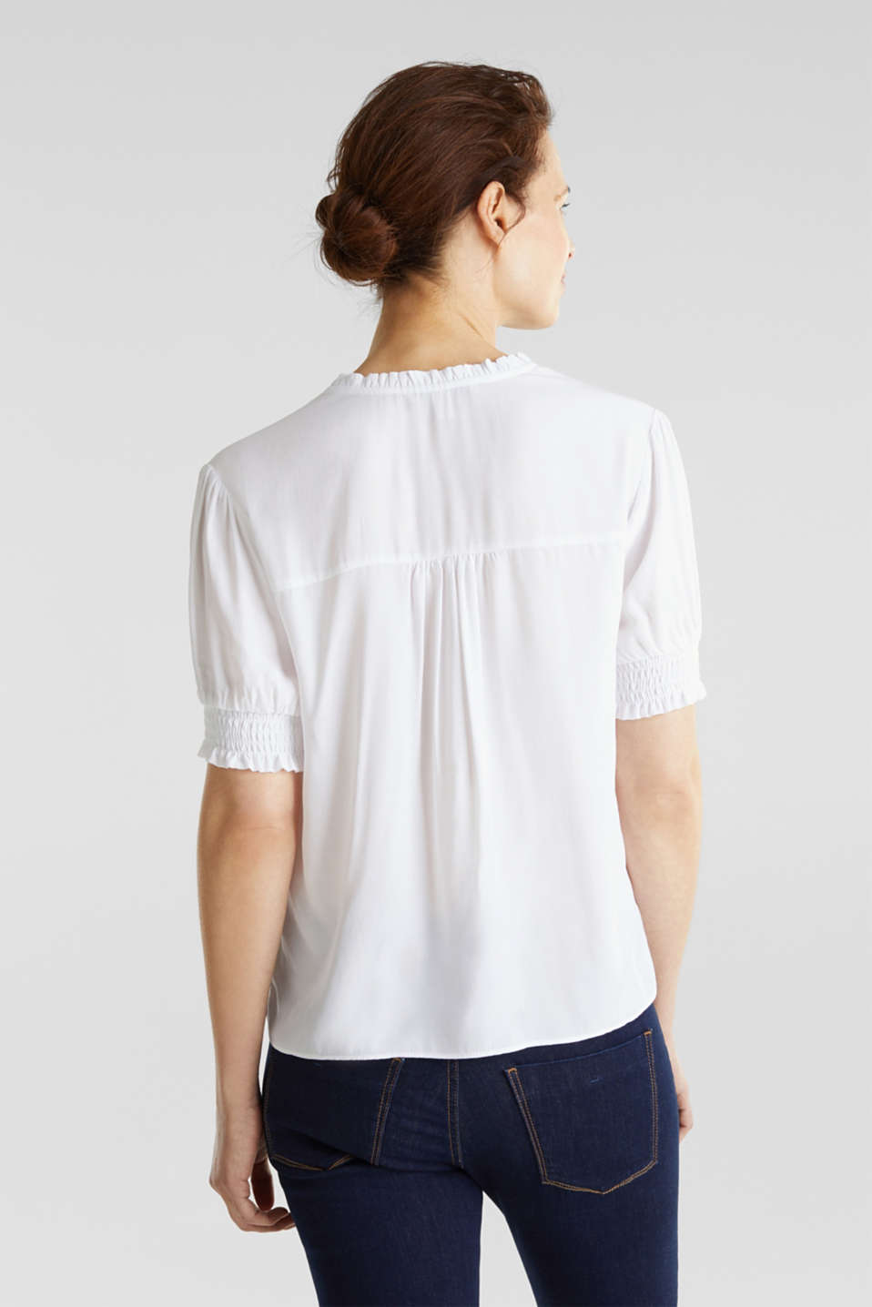 Blouse with frills and smocked details, WHITE, detail image number 2