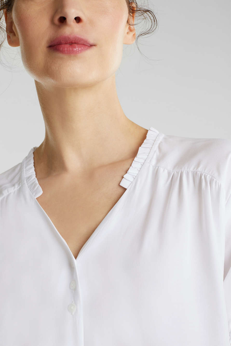 Blouse with frills and smocked details, WHITE, detail image number 1
