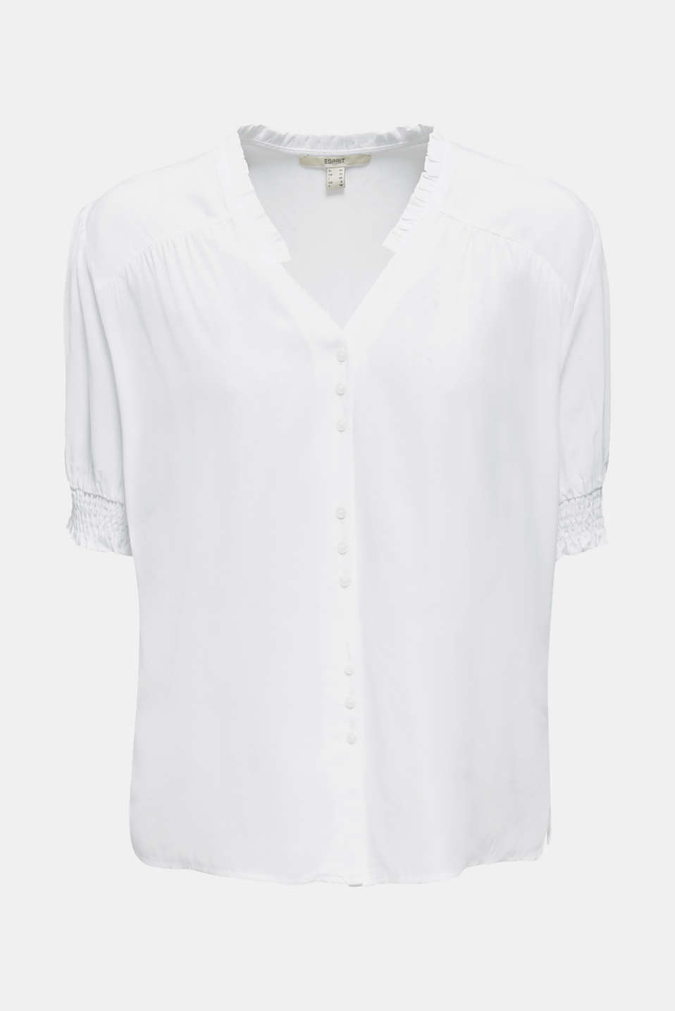 Blouse with frills and smocked details, WHITE, detail image number 5